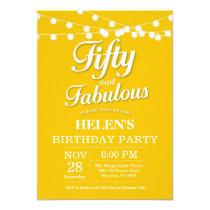 50th Birthday Invitation Yellow Fabulous