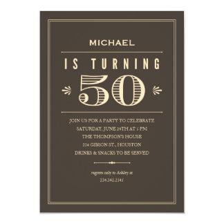 "50th Birthday Invitations for Men 5"" X 7"" Invitation Card"