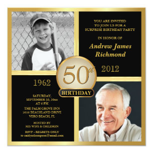 50th Birthday Invitations Then Now 2 Photos