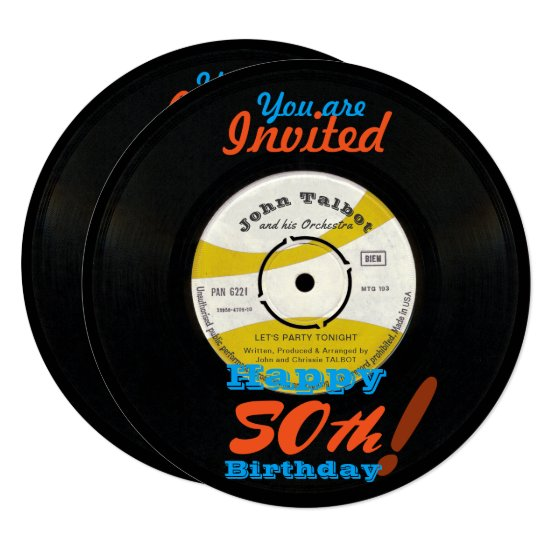 50th Birthday Invite Retro Vinyl Record 45 RPM