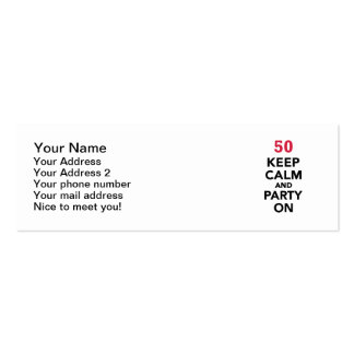 50th birthday Keep calm and party on Business Cards