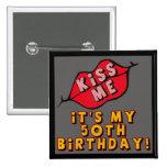 50th Birthday Kisses Button