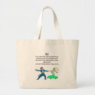 50th birthday large tote bag