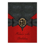 50th Birthday Leather Black Red Bow gold jewel Announcements