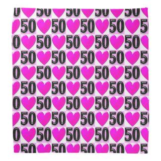 50TH BIRTHDAY LOVE HEARTS BANDANA