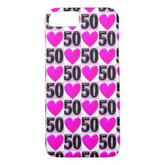 50TH BIRTHDAY LOVE HEARTS iPhone 7 CASE