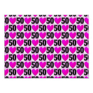50TH BIRTHDAY LOVE HEARTS POSTER