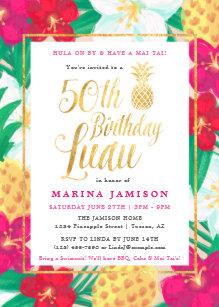 50th Birthday Luau Invitations