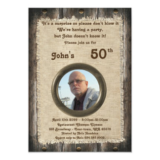 50th,Birthday man, any age,wood,rustic Card