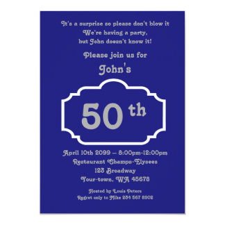 50th,Birthday Man,Party Man,any age,Navy,silver Card