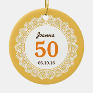 50th Birthday Memento Orange White Lace L34C Double-Sided Ceramic Round Christmas Ornament