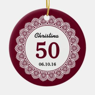 50th Birthday Memento Wine Red White Lace L34D Ceramic Ornament