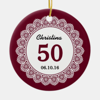 50th Birthday Memento Wine Red White Lace L34D Double-Sided Ceramic Round Christmas Ornament