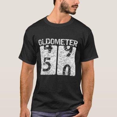 50th Birthday Men Women Oldometer 49-50 Funny Gift T-Shirt