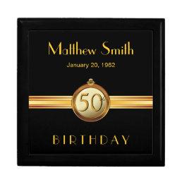 50th Birthday Mens Elegant Gold Black Gift Box