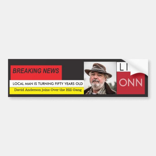 50th Birthday Mens Funny Breaking News TV Graphic Bumper Sticker