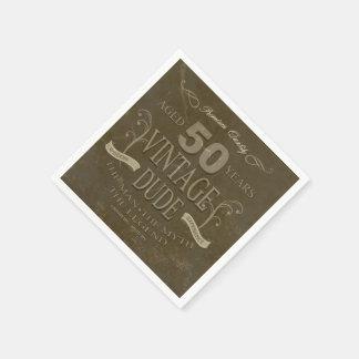 50th Birthday Mens Napkins Standard Cocktail Napkin