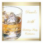 50th Birthday Mens Sepia Gold Cold Drinks Man Custom Invitations