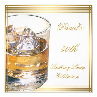 50th Birthday Mens Sepia Gold Cold Drinks Man 5.25x5.25 Square Paper Invitation Card