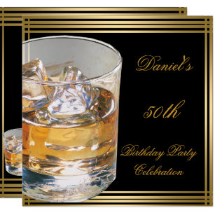 50th Birthday Mens Sepia Gold Cold Drinks Man Invitation