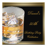 "50th Birthday Mens Sepia Gold Cold Drinks Man 5.25"" Square Invitation Card"