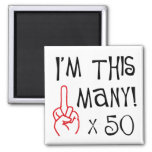 50th birthday Middle Finger Salute 2 Inch Square Magnet