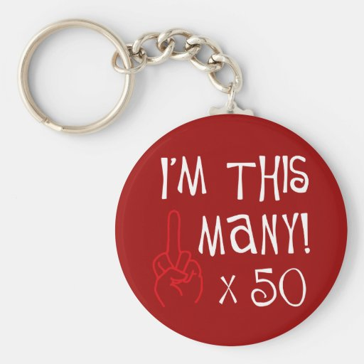 50th birthday Middle Finger Salute Keychain
