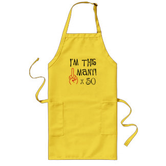 50th birthday Middle Finger Salute Long Apron