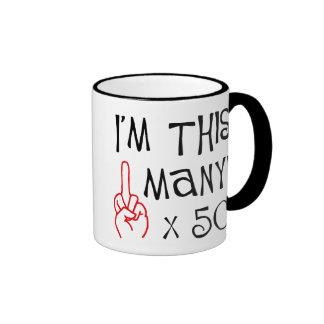 50th birthday Middle Finger Salute Ringer Mug