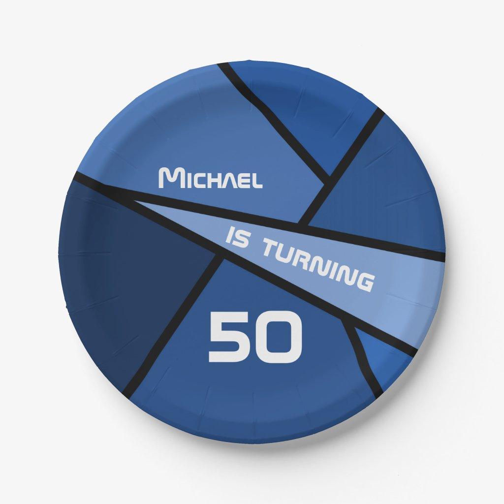 50th Birthday Modern Blue Geometric Shapes Paper Plate