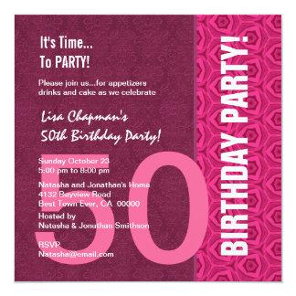 50th Birthday Modern Pink and Wine C949 Card