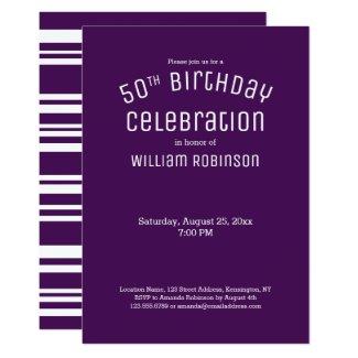 50th Birthday Modern Purple Stripes Invitation