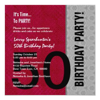 "50th Birthday Modern Red Silver Black C947 5.25"" Square Invitation Card"