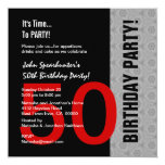 50th Birthday Modern Red Silver Black Funny D845 Card