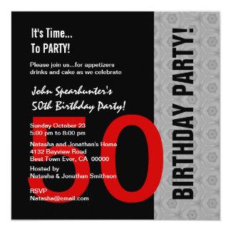"50th Birthday Modern Red Silver Black Funny D845 5.25"" Square Invitation Card"