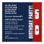 50th Birthday Modern Red White Blue Stars Metallic Card