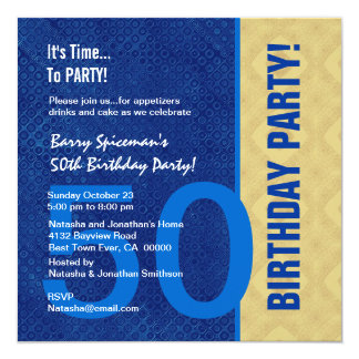 50th Birthday Modern Royal Blue and Gold V02 Card
