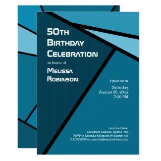 50th Birthday Modern Teal Geometric Shapes Card