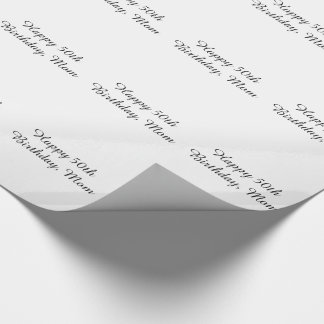 50th Birthday, mom, black & white gift wrap. Wrapping Paper