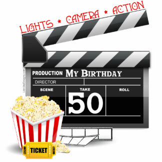 50th Birthday Movie Theme Acrylic Cut Outs