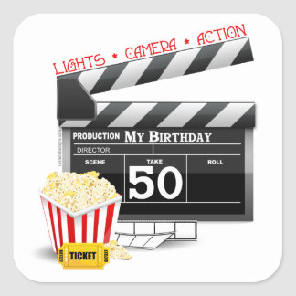 50th Birthday Movie Theme Square Sticker