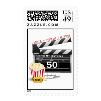 50th Birthday Movie Theme Stamp