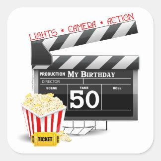 50th Birthday Movie Theme Square Stickers