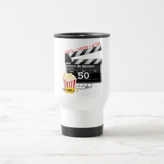 50th Birthday Movie Theme Travel Mug