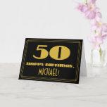 "[ Thumbnail: 50th Birthday: Name + Art Deco Inspired Look ""50"" Card ]"