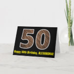 "[ Thumbnail: 50th Birthday: Name + Faux Wood Grain Pattern ""50"" Card ]"