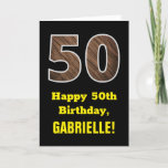 "[ Thumbnail: 50th Birthday: Name, Faux Wood Grain Pattern ""50"" Card ]"