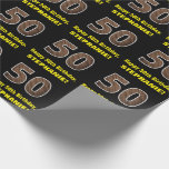 "[ Thumbnail: 50th Birthday: Name & Faux Wood Grain Pattern ""50"" Wrapping Paper ]"