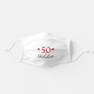 50th Birthday Name Photo 50 and Fabulous Red Heart Adult Cloth Face Mask by youphotoit