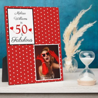 50th Birthday Name Photo Red 50 and Fabulous W Red Plaque